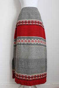 VINTAGE WOOL WOVEN TAPESTRY GREY RED SKIRT - SIZE 12