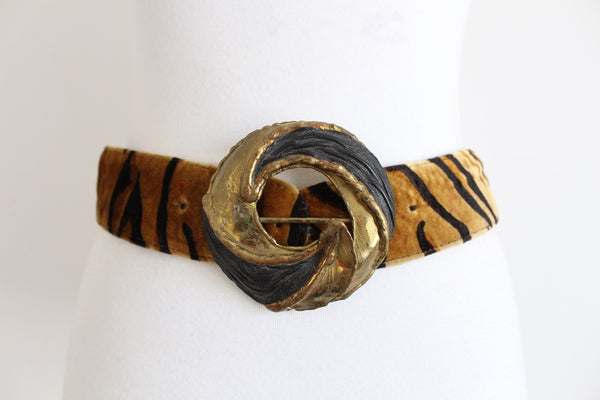VINTAGE ANIMAL PRINT VELVET BRASS BUCKLE BELT