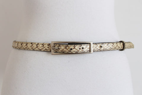 GENUINE THAI SNAKE SKIN SKINNY BELT
