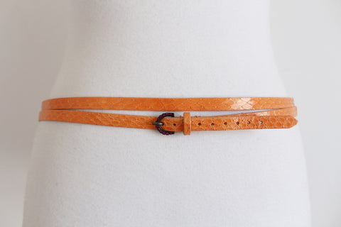 LES NEREIDES DESIGNER SNAKE SKIN ORANGE BELT