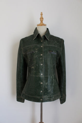 DIESEL GENUINE LEATHER GREEN JACKET - SIZE 8