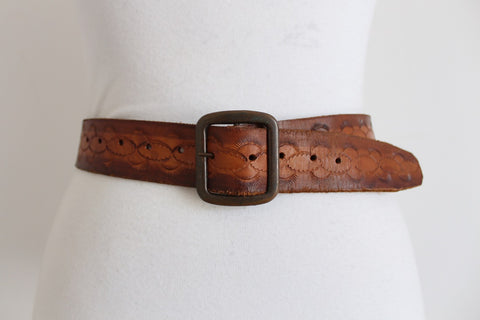 VINTAGE GENUINE LEATHER TOOLED BROWN WAIST BELT