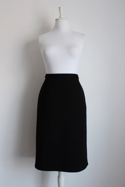 VINTAGE BLACK WOOL KNIT STRAIGHT SKIRT - SIZE 14