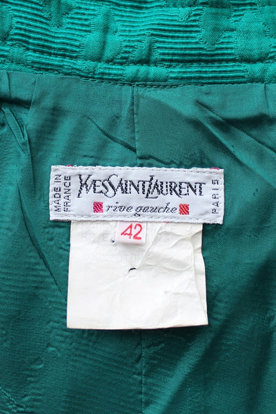 YVES SAINT LAURENT DESIGNER VINTAGE GREEN SKIRT - SIZE 8
