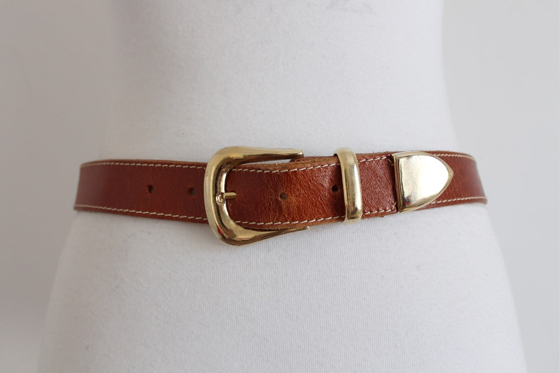 VINTAGE GENUINE LEATHER COGNAC BROWN BELT
