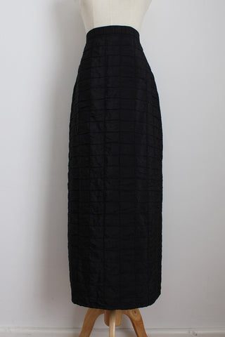 POLO BLACK CHECK TEXTURED MAXI SKIRT - SIZE 10