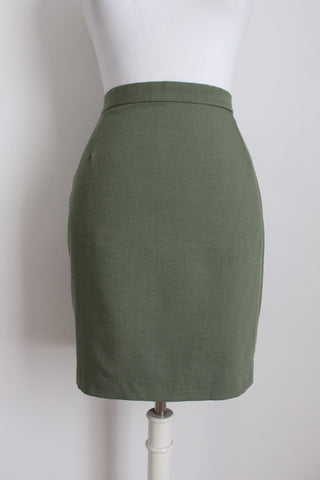 VINTAGE GREEN FITTED MINI PENCIL SKIRT - SIZE 8