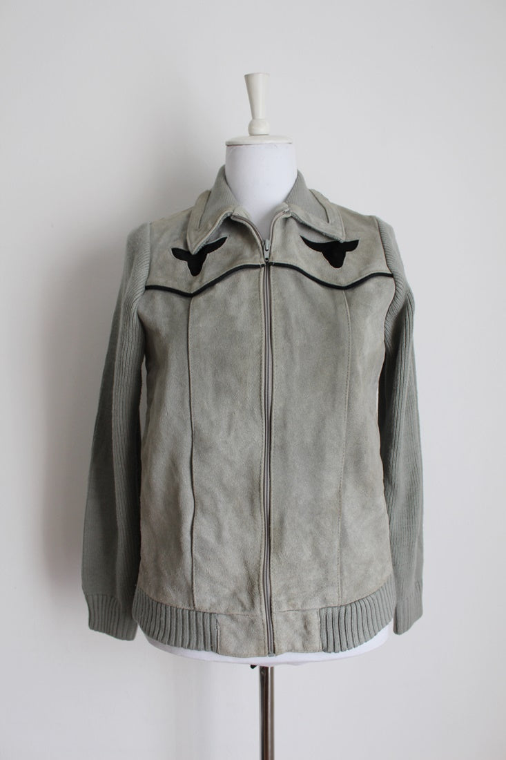 *GENUINE SUEDE LEATHER* VINTAGE GREY KNIT JACKET - SIZE 12