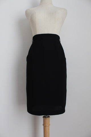 VINTAGE BIANCA BLACK LINED PENCIL SKIRT - SIZE 12