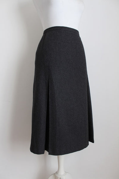 VINTAGE WOOL GREY PLEATED SKIRT - SIZE 12