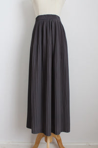 VINTAGE PLEATED GREY MAXI SKIRT - SIZE 10/12