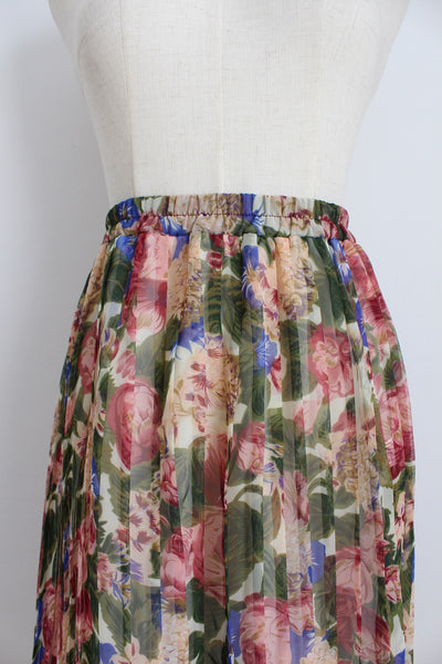 VINTAGE FLORAL PRINT PLEATED SKIRT - SIZE 8