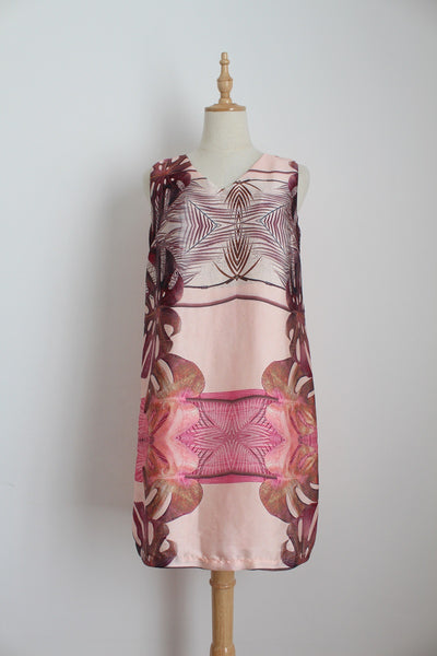 G COUTURE PINK TROPICAL PRINT SHIFT DRESS - SIZE 10