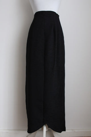 VINTAGE BLACK WRAP RUCHED MAXI SKIRT - SIZE 12