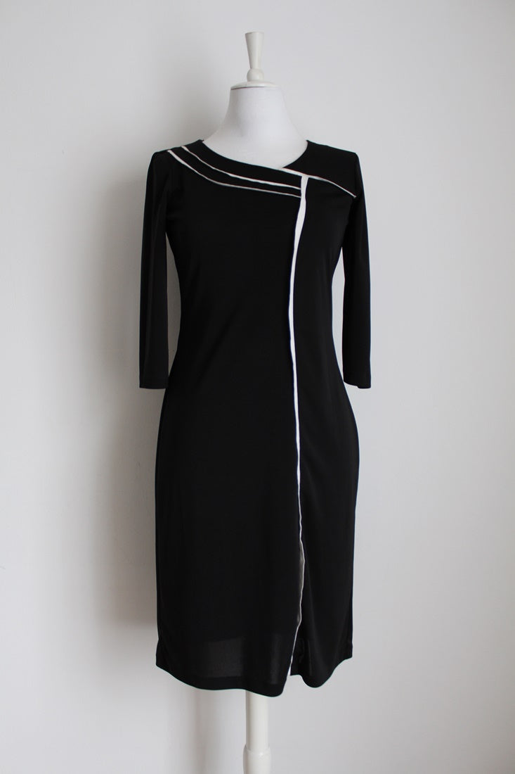 ROSENWERTH DESIGNER VINTAGE BLACK WHITE DRESS - SIZE 8