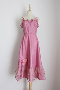 VINTAGE PINK TAFETTA RUFFLE COCKTAIL DRESS - SIZE 6