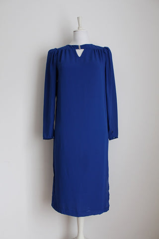 VINTAGE BLUE DRAPE BACK EVENING COCKTAIL DRESS - SIZE 8