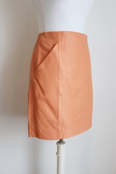 *GENUINE LEATHER* FATE PEACH FITTED SKIRT - SIZE 12