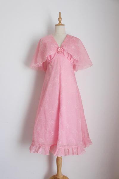 VINTAGE PINK CAPE SLEEVE COCKTAIL DRESS - SIZE 8