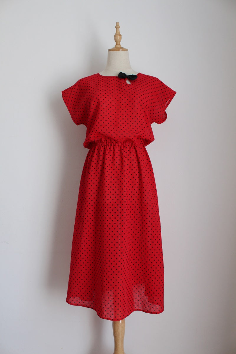 VINTAGE POLKA DOT RED BLACK PRINT DRESS - SIZE 8