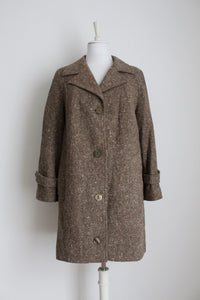 VINTAGE WOOL KNIT BROWN COAT - SIZE 14