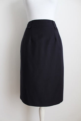 VINTAGE WOOL NAVY BLUE PENCIL SKIRT - SIZE 12