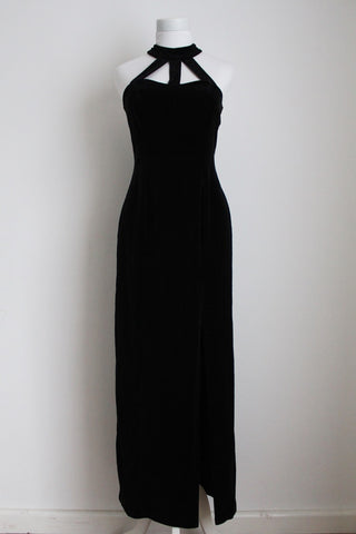VINTAGE VELVET BLACK CHOKER EVENING DRESS - SIZE 10