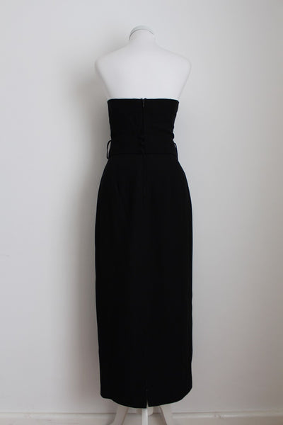 VINTAGE BOW FRONT BLACK CREAM EVENING DRESS - SIZE 8