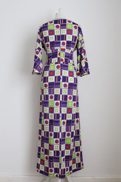 VINTAGE GEOMETRIC PRINT WHITE PURPLE MAXI DRESS - SIZE 10