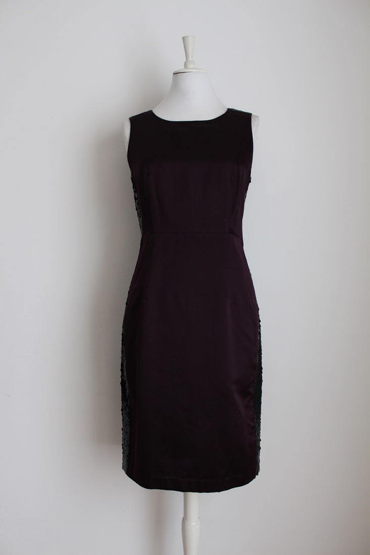 VERA WANG LAVENDER LABEL SILK BURGUNDY DRESS - SIZE 12