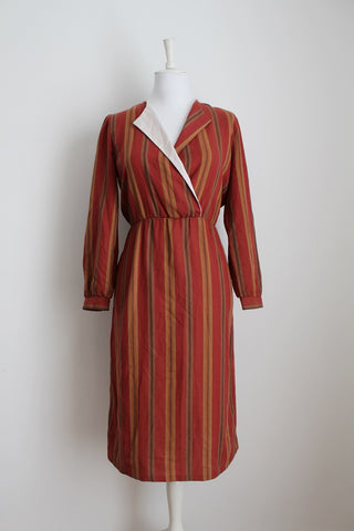 VINTAGE COTTON FLANNEL ORANGE STRIPE DRESS - SIZE 12