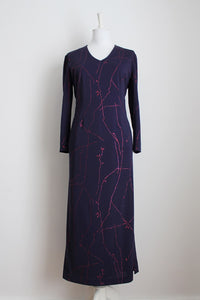 VINTAGE PURPLE PINK GLITTER PRINT EVENING DRESS - SIZE 14
