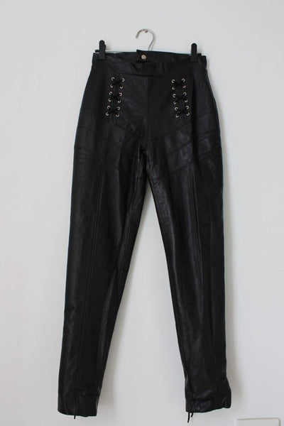 *GENUINE LEATHER* LACE-UP BIKER STYLE SKINNY PANTS - SIZE 8