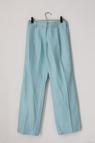 *GENUINE LEATHER* PASTEL BLUE TROUSERS - SIZE 6