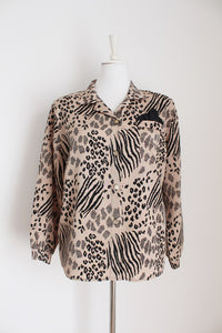 VINTAGE ANIMAL PRINT POCKET SQUARE SHIRT - SIZE 16