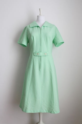 VINTAGE MINT GREEN ZIP FRONT DAY DRESS - SIZE 18