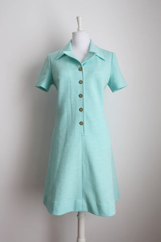 VINTAGE BABY BLUE BUTTON DOWN DAY DRESS - SIZE 16