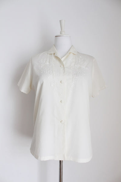 VINTAGE CREAM CHINESE EMBROIDERY BLOUSE - SIZE 12
