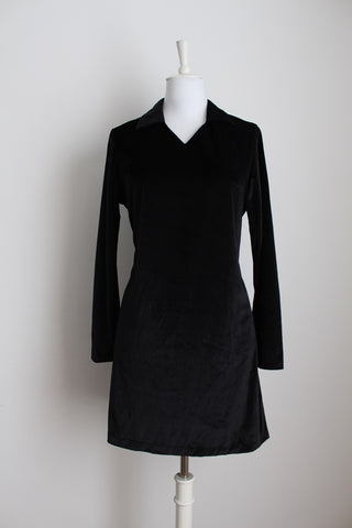VINTAGE BLACK VELVET LONG SLEEVE SHIFT DRESS - SIZE 12