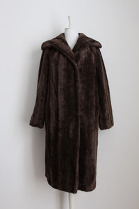VINTAGE FAUX FUR BROWN LONG COAT - SIZE 8/ 10