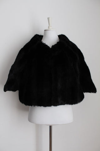 VINTAGE FAUX FUR BLACK SHRUG COAT - ONE SIZE