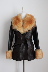 GENUINE SHEEPSKIN LEATHER VINTAGE FUR COAT - SIZE 10