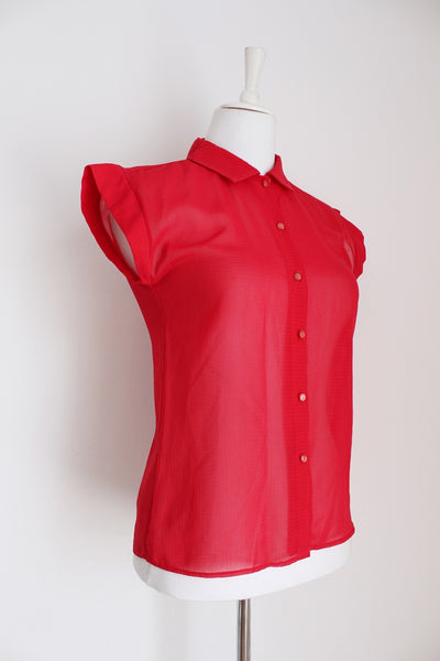 VINTAGE RED CAP SLEEVE SHIRT - SIZE 8