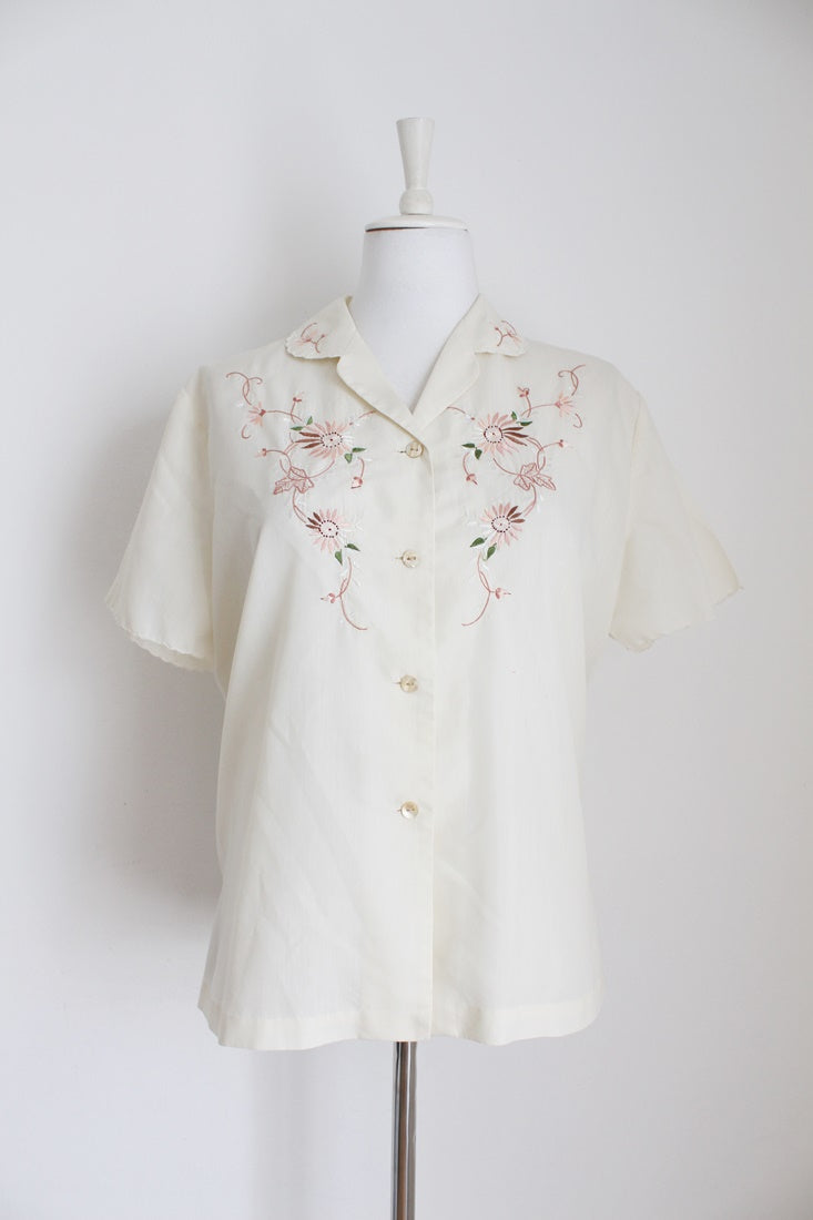 VINTAGE CREAM FLORAL EMBROIDERY SHIRT - SIZE 16