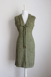 VINTAGE WOOL GREEN HERRINGBONE WINTER DRESS - SIZE 14