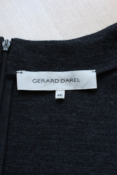 GERARD DAREL DESIGNER WOOL GREY DRESS - SIZE 16