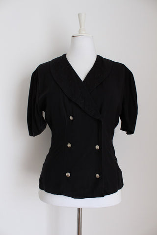 VINTAGE BLACK DOUBLE BREASTED SHIRT - SIZE 8