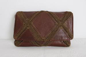 VINTAGE GENUINE LEATHER CROCHET KNIT PATCHWORK CLUTCH