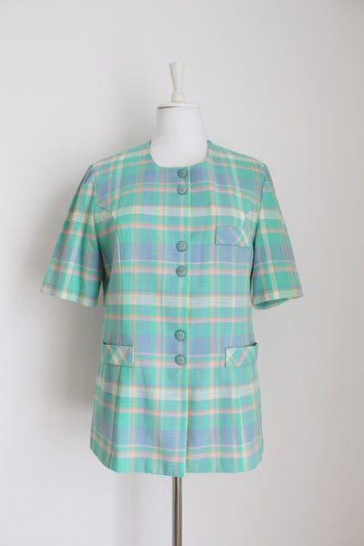 VINTAGE PLAID CHECK MINT SHORT SLEEVE JACKET - SIZE 10