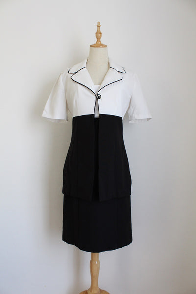 VINTAGE BLACK WHITE SHIFT DRESS TWO PIECE - SIZE 8